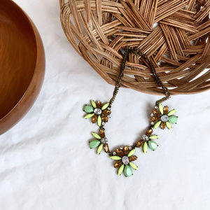 J. Crew — Statement Necklace Lime Green & Gold